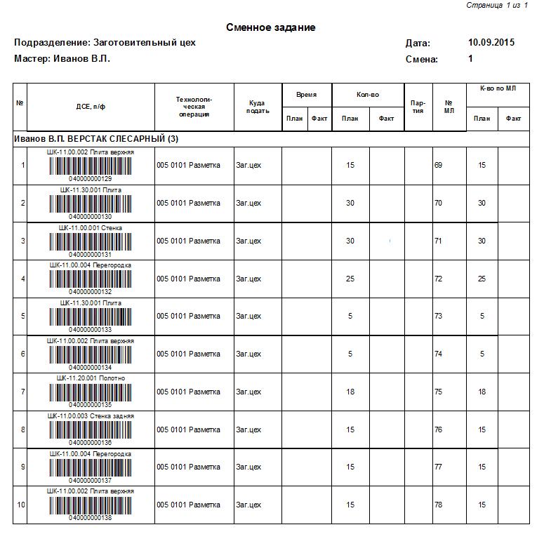 Сменное задание со штрих-кодами для оперативного учёта производства